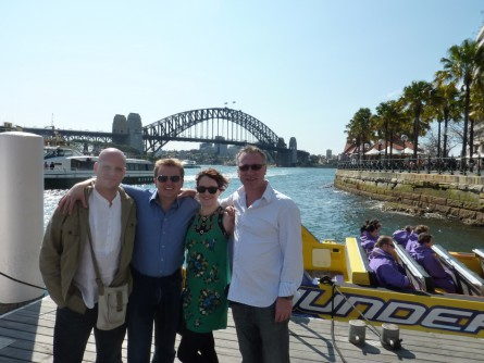 Leah on tour with Aled Jones, his guitarist Pete Harris and Musical Director Robert Scott - Sydney Harbour